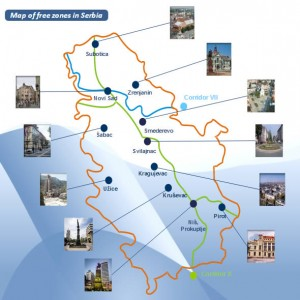 map of free zone in serbia mappa delle zone franche in serbia